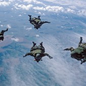 Diamond Formation - Remaining close in free fall until you track away and deploy your parachute.  *