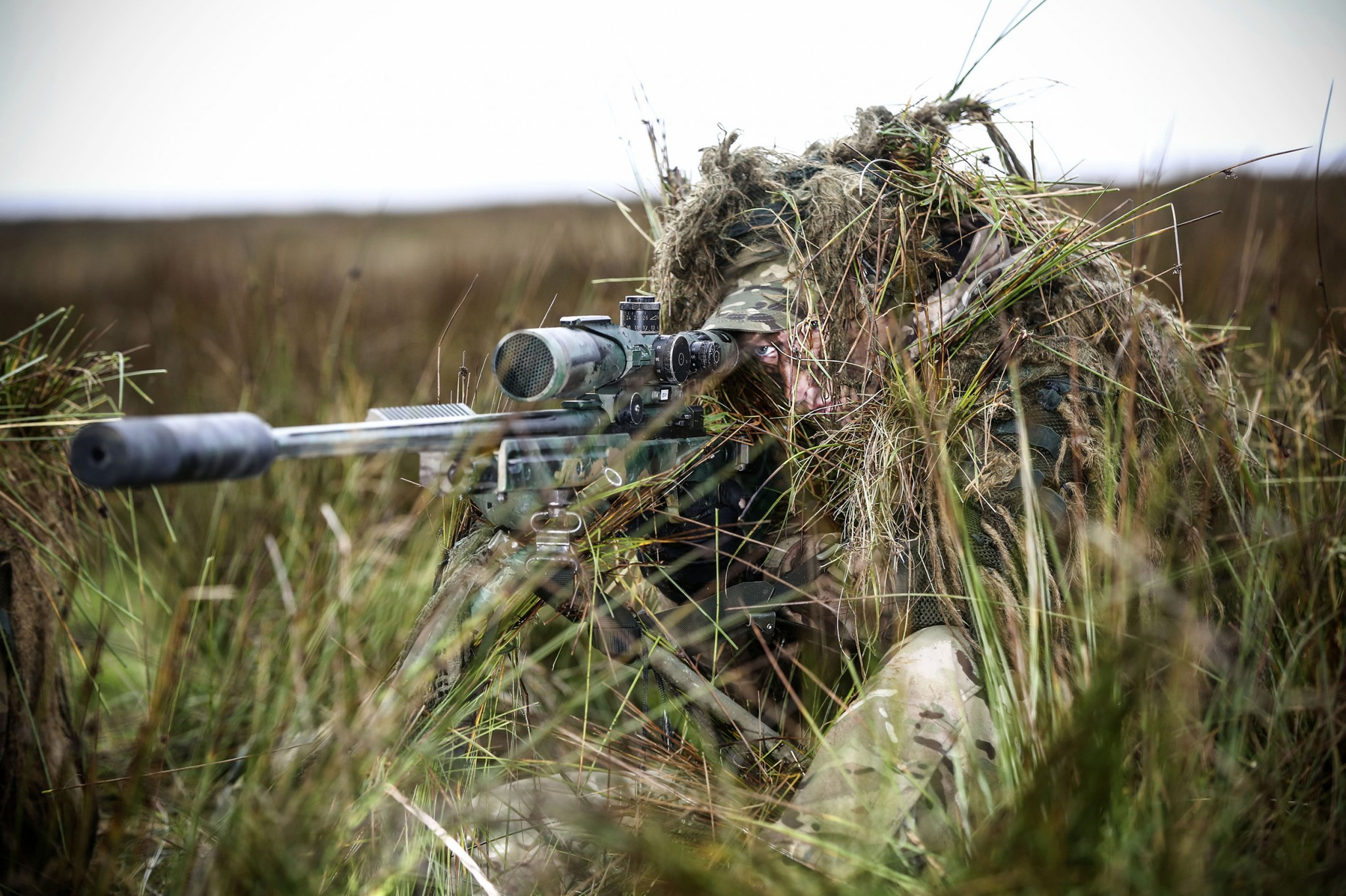 Pictured is a sniper from 34 Squadron, The Royal Air Force Regiment